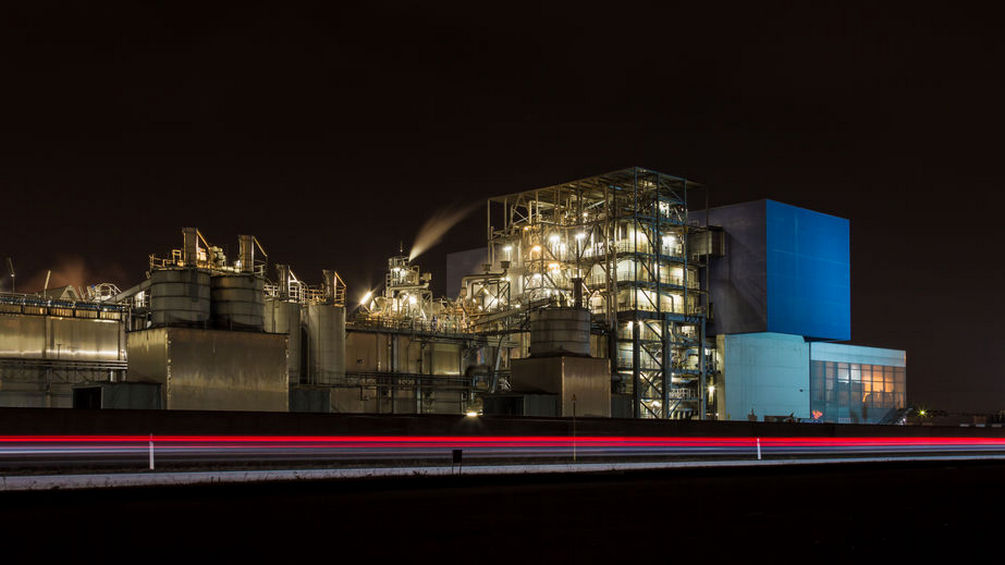 Waste incinerator at night long exposure